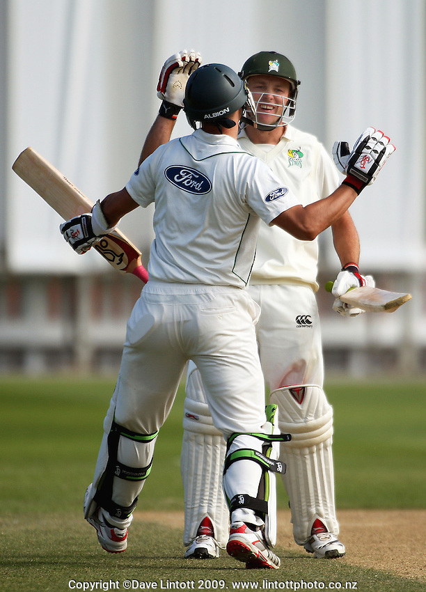 Stags batsmen Peter Ingram (left) and Brad Patton celebrate victory during the Plunket Shield cricket match between Wellington Firebirds and Central Stags at Allied Nationwide Finance Basin Reserve, Wellington, New Zealand on Tuesday, 15 December 2009. Photo: Dave Lintott / lintottphoto.co.nz