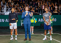 Rotterdam, The Netherlands, 16 Februari 2020, ABNAMRO World Tennis Tournament, Ahoy,<br /> Mens Single Final: Winner  Gaël Monfils (FRA) (R) and  the runner up Felix Auger-Aliassime (CAN) with the trophy while tournament dirctor Richard Krajicek speeches<br /> Photo: www.tennisimages.com