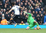 Arsenal's Petr Cech tackles Tottenham's Son Heung-Min during the Premier League match at the Emirates Stadium, London. Picture date November 6th, 2016 Pic David Klein/Sportimage