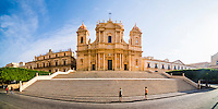 Panoramic photo of Cattedrale di Noto (Noto Cathedral, St Nicholas Cathedral, Duomo), a Baroque building in Noto, Val di Noto, UNESCO World Heritage Site, Sicily, Italy, Europe. This is a panoramic photo of Cattedrale di Noto (Noto Cathedral, St Nicholas Cathedral, Duomo), a Baroque building in Noto, Val di Noto, UNESCO World Heritage Site, Sicily, Italy, Europe.