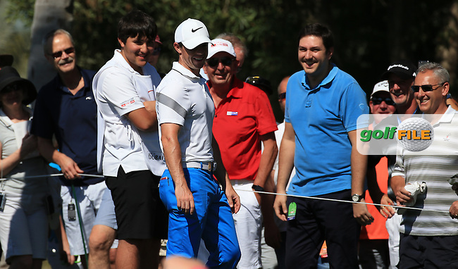 A spectator was hit by the ball of Rory McIlroy (NIR) on the 6th, but he was more than happy to take the hit and bleed; during Round Three of the 2016 Omega Dubai Desert Classic, played on the Emirates Golf Club, Dubai, United Arab Emirates.  06/02/2016. Picture: Golffile | David Lloyd<br /> <br /> All photos usage must carry mandatory copyright credit (&copy; Golffile | David Lloyd)