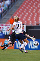 22 MAY 2010:  Germany's Nadine Angerer #1 and USA's Alex Morgan #21 during the International Friendly soccer match between Germany WNT vs USA WNT at Cleveland Browns Stadium in Cleveland, Ohio. USA defeated Germany 4-0 on May 22, 2010.