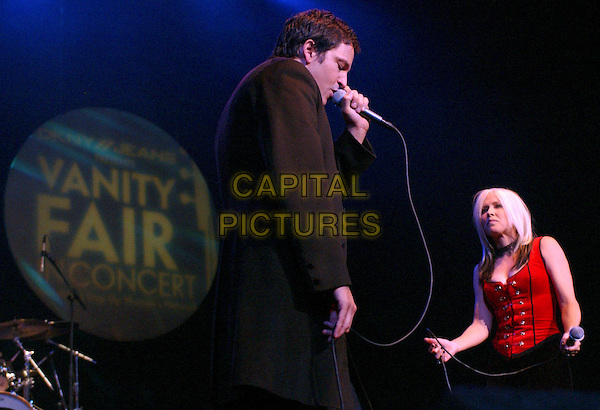 STEPHAN JENKINS & TERRI NUN OF BERLIN.Perform live with Camp Freddy at the DKNY Jeans Vanity Fair Benefit Concert  for The Step Up Women's Network held at The Wiltern Theatre LG in Los Angeles, California, USA, October 23rd 2004..half length music gig on stage concert  .Ref: DVS.www.capitalpictures.com.sales@capitalpictures.com.©Debbie VanStory/Capital Pictures .