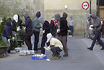 Hooded people prepares cocktails molotoff on May 17, 2001,in Bilbao, Basque Country. (Ander Gillenea / Bostok Photo)