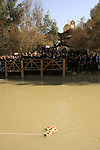 Jordan Valley, Qasr al Yahud. Syrian Orthodox pilgrims on the Jordenian side of the Jordan river celebrates the Feast of Theophany at the place of Jesus' baptism by John the Baptist