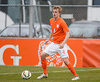 20150314 - GENDT , NETHERLANDS  : Dutch Jelle de Lange pictured during the soccer match between Under 17 teams of  The Netherlands and Northern Ireland , on the second matchday in group 3 of the UEFA Elite Round Under 17 at De Bataven Stadion , Gendt , The Netherlands . Saturday  14 th March 2015 . PHOTO DAVID CATRY