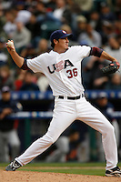 Joe Nathan of the USA during the World Baseball Championships at Angel Stadium in Anaheim,California on March 12, 2006. Photo by Larry Goren/Four Seam Images