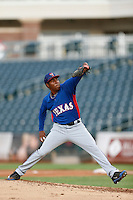 Kevin Sosa #43 of the AZL Rangers pitches against the AZL Royals at Surprise Stadium on July 15, 2013 in Surprise, Arizona. AZL Rangers defeated the AZL Royals, 3-2. (Larry Goren/Four Seam Images)