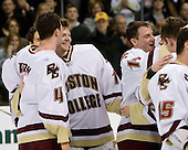 (Bertram) Mike Brennan (BC 4), John Muse (BC 1), Matt Greene (BC 14) (Gibbons, Smith) - The Boston College Eagles defeated the Harvard University Crimson 6-5 in overtime on Monday, February 11, 2008, to win the 2008 Beanpot at the TD Banknorth Garden in Boston, Massachusetts.