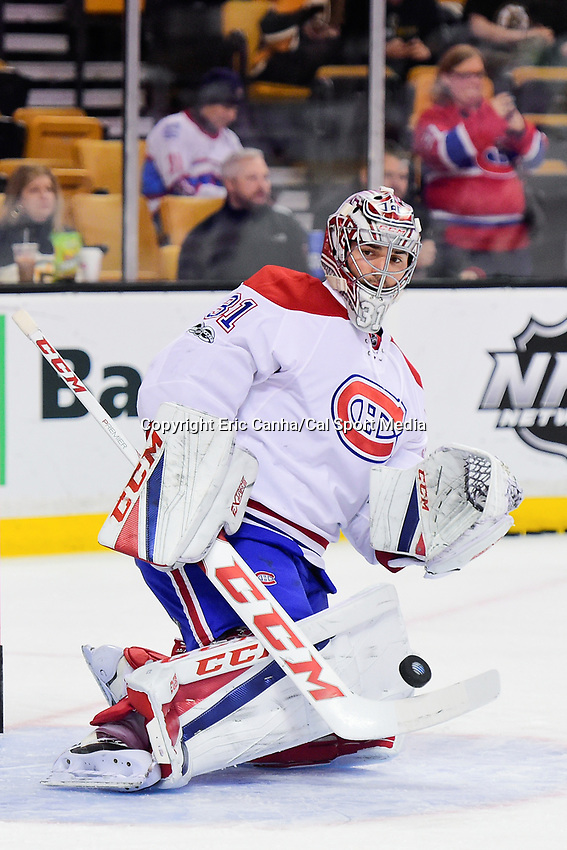 February 12, 2017: Montreal Canadiens goalie Carey Price (31) warms up prior to the National Hockey League game between the Montreal Canadiens and the Boston Bruins held at TD Garden, in Boston, Mass. Boston defeats Montreal 4-0. Eric Canha/CSM