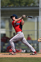 Boston Red Sox Derek Miller (47) during a minor league spring training game against the Baltimore Orioles on March 20, 2015 at Buck O'Neil Complex in Sarasota, Florida.  (Mike Janes/Four Seam Images)