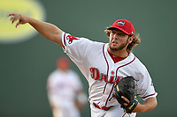 Starting pitcher Kutter Crawford (39) of the Greenville Drive delivers a warmup pitch a game against the Columbia Fireflies on Wednesday, April 18, 2018, at Fluor Field at the West End in Greenville, South Carolina. Columbia won 8-4. (Tom Priddy/Four Seam Images)