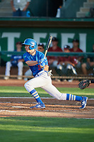 Kevin Lachance (5) of the Ogden Raptors bats against the Idaho Falls Chukars at Lindquist Field on August 28, 2017 in Ogden, Utah. Ogden defeated Idaho Falls 7-1. (Stephen Smith/Four Seam Images)
