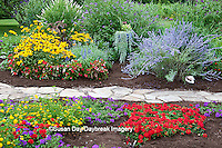 63821-21810 Flower garden with stone path,  Homestead Purple Verbena (Verbena canadensis), Red Verbena, New Gold Lantana (Lantana camara) Butterfly Bushes, Russian Sage (Perovskia atriplicifolia), Black-eyed Susans (Rudbeckia hirta) Red Dragon Wing Begonia (Begonia x hybrida)  Marion Co., IL