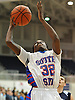 Dami Awosika #32 of South Side drives to the hoop during the Nassau County varsity boys basketball Class A semifinals aginst Hewlett at Hofstra University on Wednesday, Feb. 24, 2016. He hit what proved to be the game-winning basket in South Side's 48-47 win.