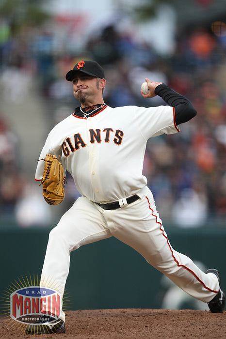 SAN FRANCISCO - APRIL 9:  Jeremy Affeldt of the San Francisco Giants pitches against the Milwaukee Brewers during the game at AT&T Park on April 9, 2009 in San Francisco, California. Photo by Brad Mangin