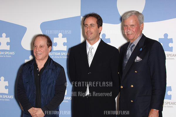 """Singer PAUL SIMON (left) & comedian JERRY SEINFELD & NBC News anchor TOM BROKOW at """"One Night Only: A Concert for Autism Speaks"""" Gala in which they starred at the Kodak Theatre, Hollywood..September 24, 2005  Los Angeles, CA..© 2005 Paul Smith / Featureflash"""