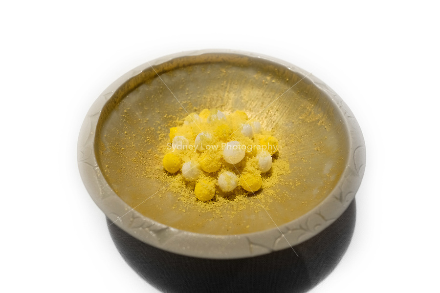 """Modena, 24 February 2017 – The dessert of """"Yellow is bello"""" at Osteria Francescana, Modena, Italy. A dessert made with bee pollen, saffron and yellow fruits. Photo Sydney Low"""