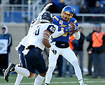 BROOKINGS, SD - DECEMBER 9: Jake Wieneke #19 from South Dakota State University hauls in a pass over D'Andre Drummond-Mayrie #4 and Pop Lacey #40 from the University of New Hampshire for a touchdown during their FCS quarterfinal game Saturday afternoon at Dana J. Dykhouse Stadium in Brookings, SD. (Photo by Dave Eggen/Inertia)