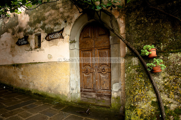 Old door and signs at 'Il Borro', Ferragamo Estate, Chianti, Tuscany, Italy