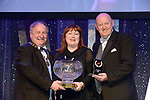Christine Scarry, Kilkenny Musical Society, who won Best Director / Gilbert Section for the show 'Parade' receiving the trophy from on  left, Colm Moules, President, AIMS and Seamus Power, Vice-President at the Association of Irish Musical Societies annual awards in the INEC, KIllarney at the weekend.<br /> Photo: Don MacMonagle -macmonagle.com<br /> <br /> <br /> <br /> repro free photo from AIMS<br /> Further Information:<br /> Kate Furlong AIMS PRO kate.furlong84@gmail.com