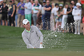 February 2nd 2019, Scottsdale, Arizona, USA; David Hearn blasts out of the sand trap on the ninth hole during the third round of the Waste Management Phoenix Open on February 02, 2019, at TPC Scottsdale in Scottsdale, AZ.