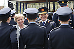 Attending the Garda graduations in Templemore on Thursday were the Minister for Justice Frances Fitzgerald meeting the graduates as Garda Commissioner N&oacute;ir&iacute;n O'Sullivan hands out their Garda id cards.<br />  Photograph Liam Burke/Press 22