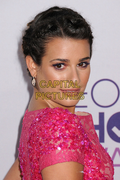 Lea Michele.People's Choice Awards 2013 - Arrivals held at Nokia Theatre L.A. Live, Los Angeles, California, USA..January 9th, 2013.headshot portrait hair up braid plait pink lace sequins sequined beads beaded side .CAP/ADM/BP.©Byron Purvis/AdMedia/Capital Pictures.