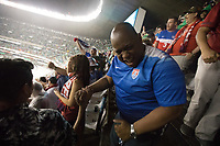 MEXICO CITY, MEXICO - June 11, 2017:  USA fans react to tying their World Cup Qualifier match against Mexico at Azteca Stadium.