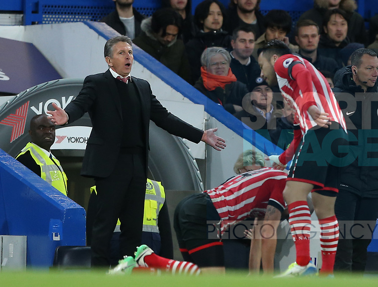 Southampton's Claude Puel in action during the Premier League match at Stamford Bridge Stadium, London. Picture date: April 25th, 2017. Pic credit should read: David Klein/Sportimage