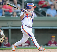 Outfielder Dominic Attanasio (1) of the Clemson Tigers in a game against the Elon College Phoenix on March 21, 2012, at Fluor Field at the West End in Greenville, South Carolina. Clemson won 4-2, giving head coach Jack Leggett his 1,200th win. (Tom Priddy/Four Seam Images)