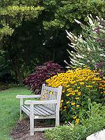 HS73-502z  Garden Bench in Perennial Garden