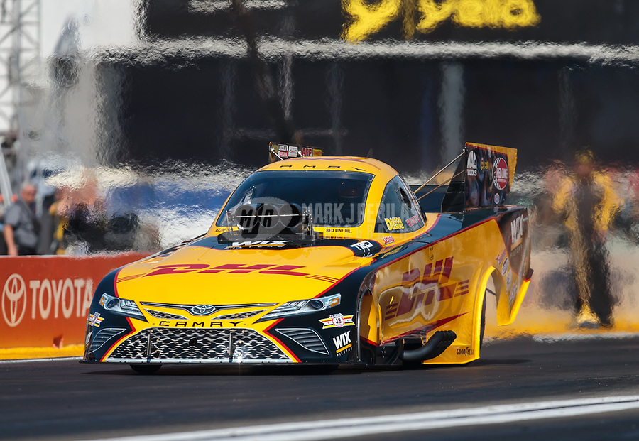 Feb 8, 2019; Pomona, CA, USA; NHRA funny car driver J.R. Todd during qualifying for the Winternationals at Auto Club Raceway at Pomona. Mandatory Credit: Mark J. Rebilas-USA TODAY Sports