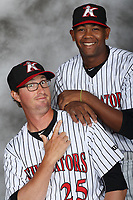 Kannapolis Intimidators pitching coach Matt Zaleski (25) and pitcher Yosmer Solarzano (18) pose for a photo at Kannapolis Intimidators Stadium on April 5, 2017 in Kannapolis, North Carolina.  (Brian Westerholt/Four Seam Images)