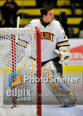 22 November 2011: University of Vermont Catamount goaltender Rob Madore, a Senior from Pittsburgh, PA, prepares for the start of play against the University of Massachusetts Minutemen at Gutterson Fieldhouse in Burlington, Vermont. The Catamounts defeated the Minutemen 2-1 in their annual pre-Thanksgiving meeting in the Hockey East season. Mandatory Credit: Ed Wolfstein Photo