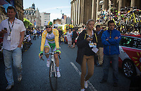 Simon Gerrans (AUS/Orica-GreenEDGE) making his way to the start<br /> <br /> 2014 Tour de France<br /> stage 1: Leeds - Harrogate (190.5km)