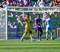 3rd November 2019; HBF Park, Perth, Western Australia, Australia; A League Football, Perth Glory versus Central Coast Mariners; Samuel Silvera of the Central Coast Mariners celebrates scoring in the 45th minute to put the Mariners up 2-1 - Editorial Use