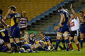 Referee Josh Noonan awards Fritz Lee's try. Air New Zealand Cup rugby game played at Mt Smart Stadium, Auckland, between Counties Manukau Steelers & Otago on Thursday August 21st 2008..Otago won 22 - 8 after leading 12 - 8 at halftime.