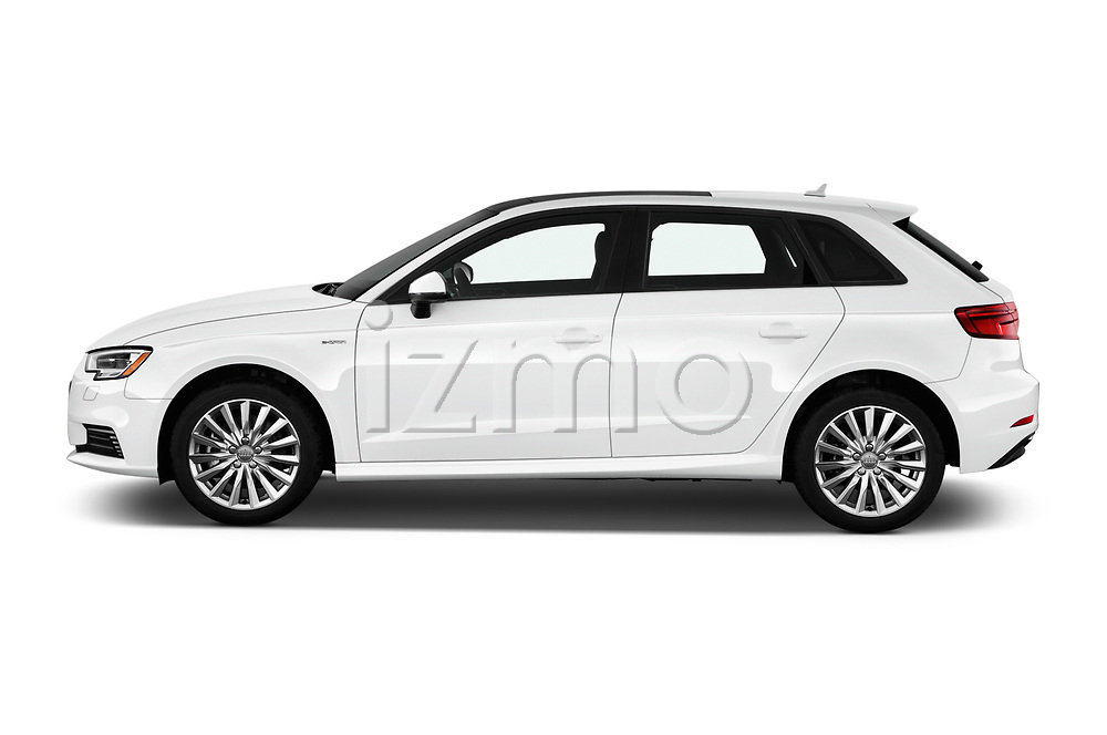 Car driver side profile view of a 2018 Audi A3 Sportback e tron Premium  5 Door Hatchback