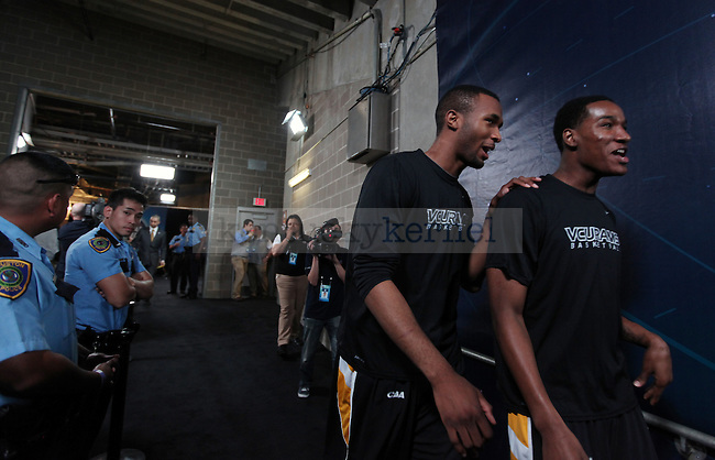 VCU players take the court before the Final Four game at Reliant Stadium in Houston, TX for the Final Four on Saturday, April 2, 2011.  Photo by Britney McIntosh | Staff