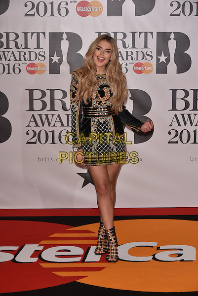 LONDON, ENGLAND - FEBRUARY 24: Tallia Storm attends the BRIT Awards 2016 at The O2 Arena on February 24, 2016 in London, England<br /> CAP/PL<br /> &copy;Phil Loftus/Capital Pictures