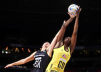 11.08.2015 Silver Ferns Casey Kopua and Jamaica's Romelda Aiken in action during the Silver Ferns v Jamaica netball match at the 2015 Netball World Cup at All Phones Arena in Sydney Australia. Mandatory Photo Credit ©Michael Bradley.