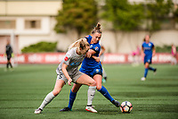 Seattle, WA - Sunday, August 13, 2017: Samantha Mewis and Lindsay Elston during a regular season National Women's Soccer League (NWSL) match between the Seattle Reign FC and the North Carolina Courage at Memorial Stadium.