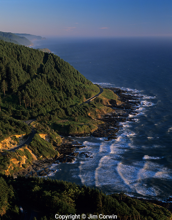 Overlook viewpoint sunset Cape Perpetua and Highway 101 with old growth rain forests central Oregon coast Oregon State USA
