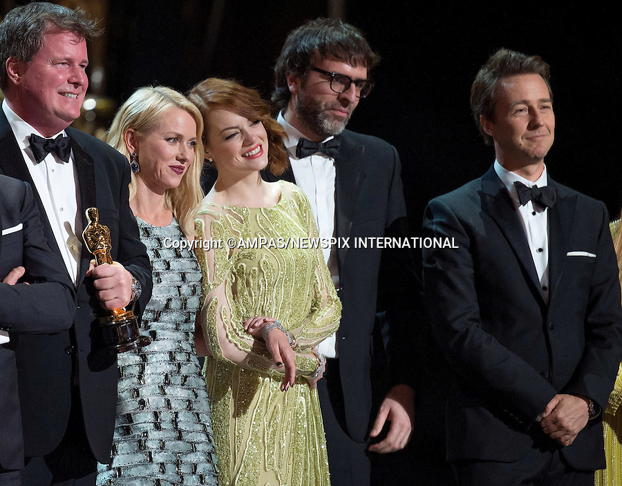 22.02.2015; Hollywood, California: 87TH OSCARS - Emma Stone, Naomi Watts, and Edward Norton backstage with the Oscar&reg; for Best motion picture of the year, for work on &ldquo;Birdman<br /> during the Annual Academy Awards Telecast, Dolby Theatre, Hollywood.<br /> Mandatory Photo Credit: NEWSPIX INTERNATIONAL<br /> <br />               **ALL FEES PAYABLE TO: &quot;NEWSPIX INTERNATIONAL&quot;**<br /> <br /> PHOTO CREDIT MANDATORY!!: NEWSPIX INTERNATIONAL(Failure to credit will incur a surcharge of 100% of reproduction fees)<br /> <br /> IMMEDIATE CONFIRMATION OF USAGE REQUIRED:<br /> Newspix International, 31 Chinnery Hill, Bishop's Stortford, ENGLAND CM23 3PS<br /> Tel:+441279 324672  ; Fax: +441279656877<br /> Mobile:  0777568 1153<br /> e-mail: info@newspixinternational.co.uk