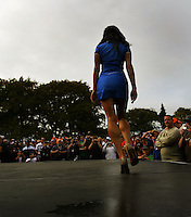 A contestant struts her stuff in Miss Hamilton 400 during Day Three of the Hamilton 400 Aussie V8 Supercars Round Two at Frankton, Hamilton, New Zealand on Sunday, 19 April 2009. Photo: Dave Lintott / lintottphoto.co.nz