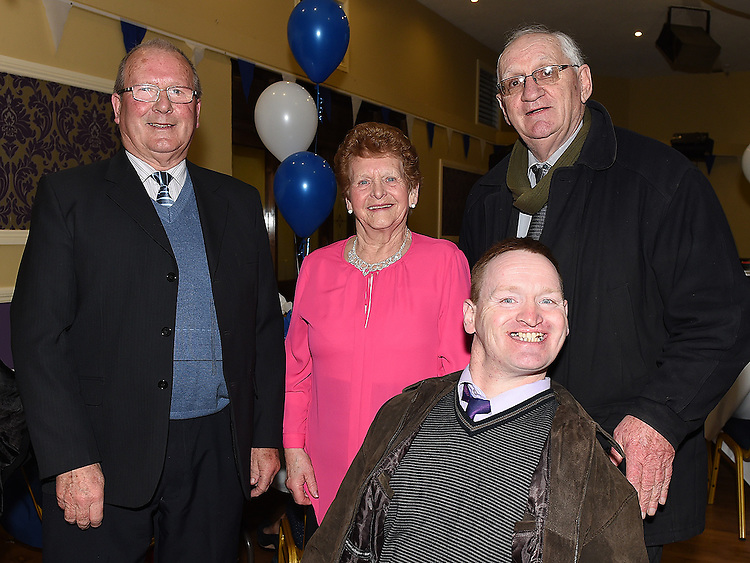 Jim and Bridie Mooney, Gerard Briscoe and Fr Hickey pictured at Naomh Mairtin Annual Reunion Dinner Dance in the Grove House Dunleer. Photo:Colin Bell/pressphotos.ie