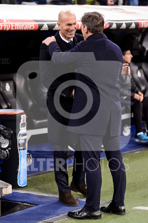 Real Madrid's coach Zinedine Zidane and Celta de Vigo's coach Eduardo Berizzo during Copa del Rey match between Real Madrid and Celta de Vigo at Santiago Bernabeu Stadium in Madrid, Spain. January 18, 2017. (ALTERPHOTOS/BorjaB.Hojas)