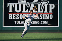 Tri-City Dust Devils left fielder Tyler Benson (3) prepares to catch a fly ball during a Northwest League game against the Everett AquaSox at Everett Memorial Stadium on September 3, 2018 in Everett, Washington. The Everett AquaSox defeated the Tri-City Dust Devils by a score of 8-3. (Zachary Lucy/Four Seam Images)