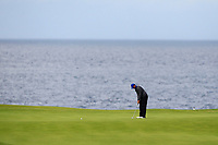 Tiger Woods (USA) on the 5th green during 1st round of the 148th Open Championship, Royal Portrush golf club, Portrush, Antrim, Northern Ireland. 18/07/2019.<br /> Picture Thos Caffrey / Golffile.ie<br /> <br /> All photo usage must carry mandatory copyright credit (© Golffile | Thos Caffrey)